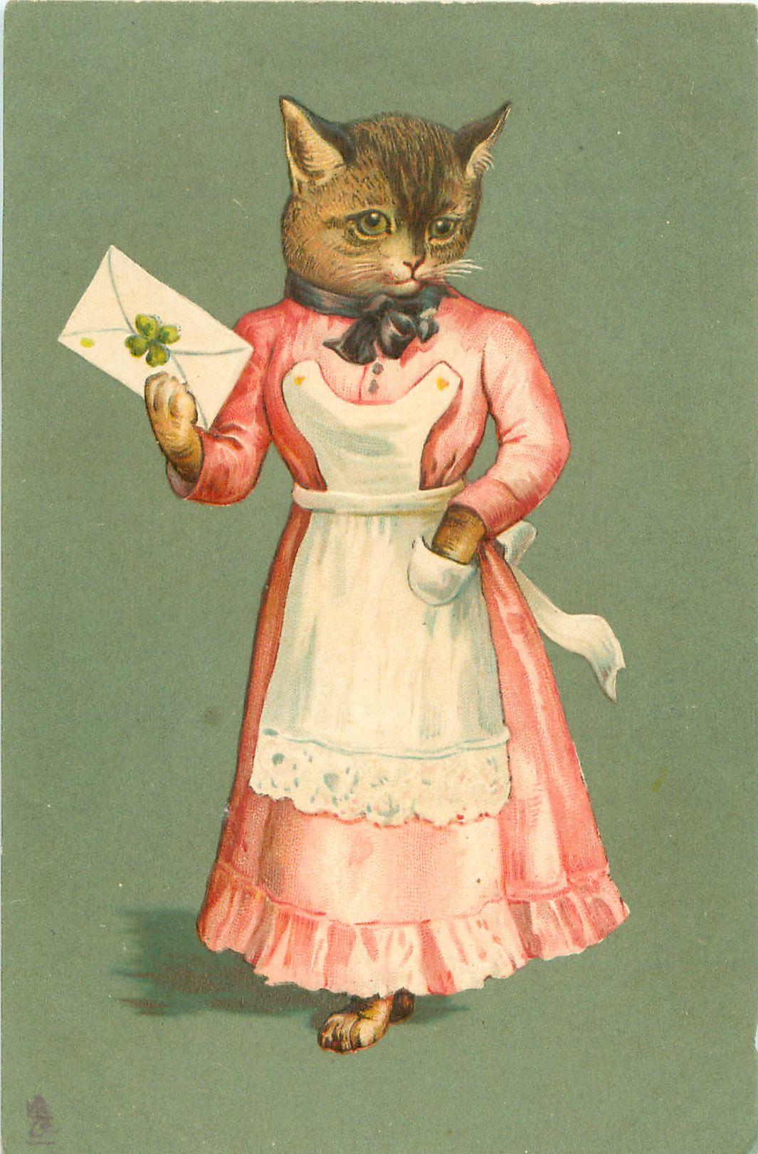 Ретро открытка кот, пасха надписью