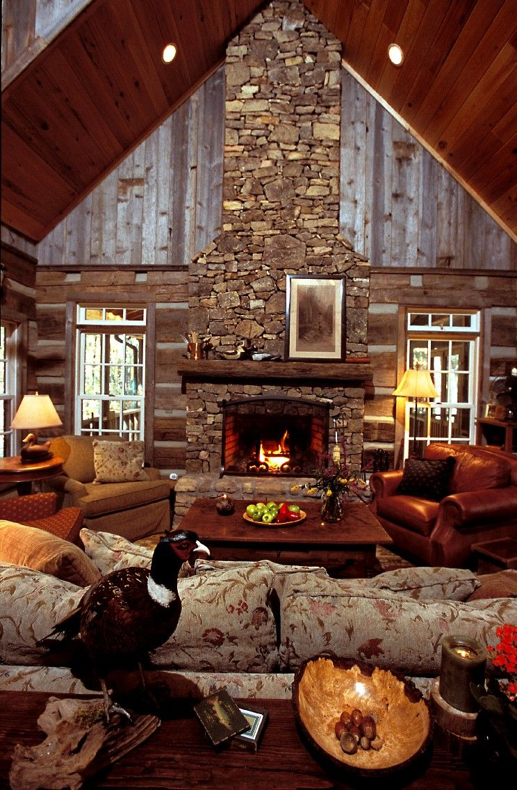 Cabin Living Room Open Fire Hand Hewn Logs Rustic