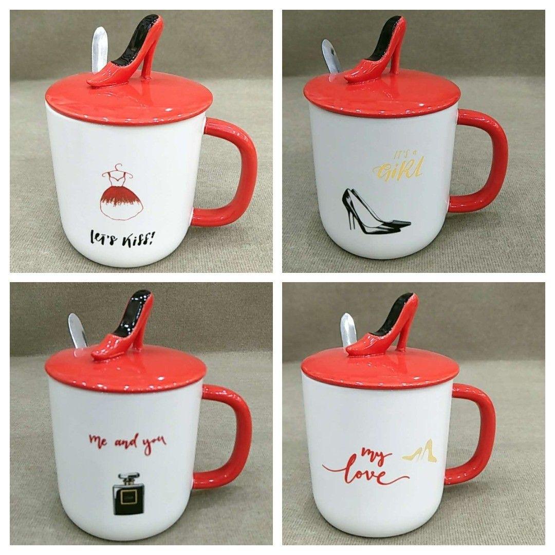 Ceramic Ladies Design Cover Cups In 4 Beautiful Designs أكواب السيراميك للسيدات تصميم غطاء في 4 تصاميم جميلة Glassware Tableware Home Decor