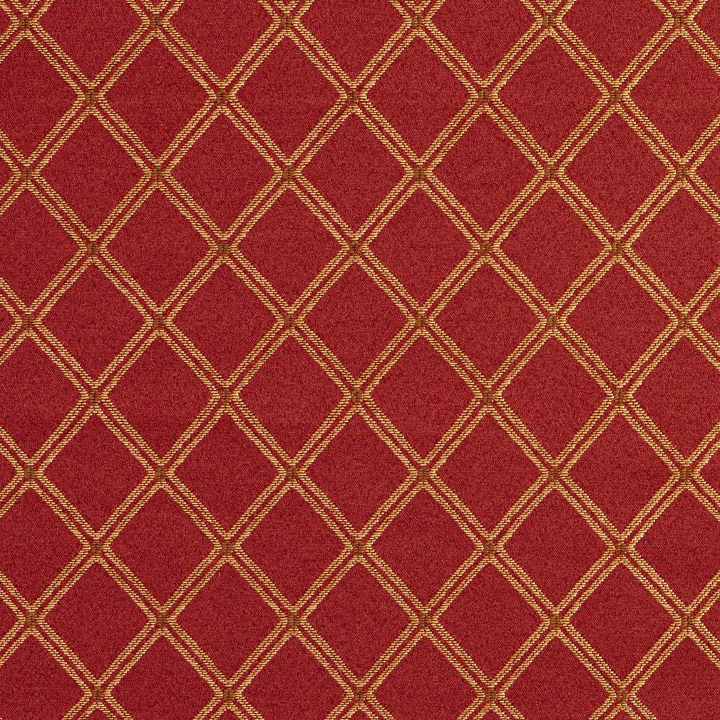 E611 Diamond Red Gold And Green Damask Upholstery Fabric By The