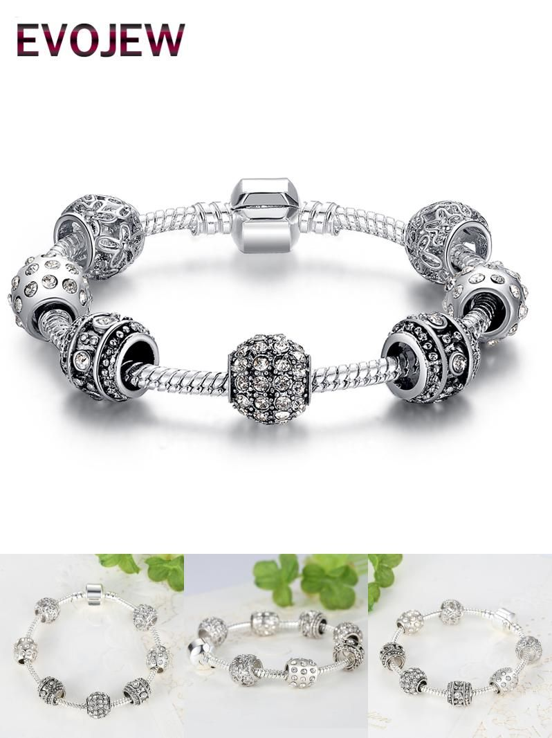 Visit to buy evojew silver color crystal beads charm bracelet for