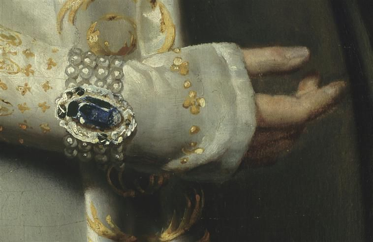 Detail of Josephine's dress. Chateau Malmaison