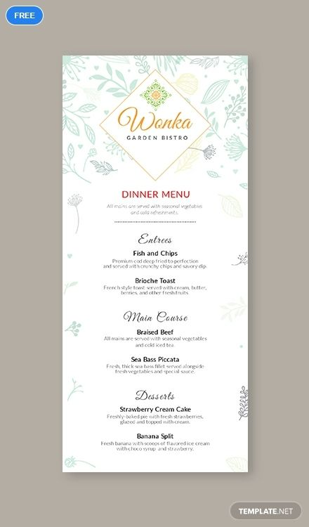 A premium dinner menu template you can download for free This file