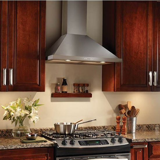 Range Hoods Broan Elite Ew58 Series Wall Mount Chimney Range Hood Kitchensource Com Kitchen Remodel Broan Cherry Cabinets Kitchen