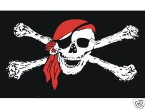 Pirate Flags Pack of 2 3x5 Jolly Roger Pirate Flags Skull Crossbones Red Bandana