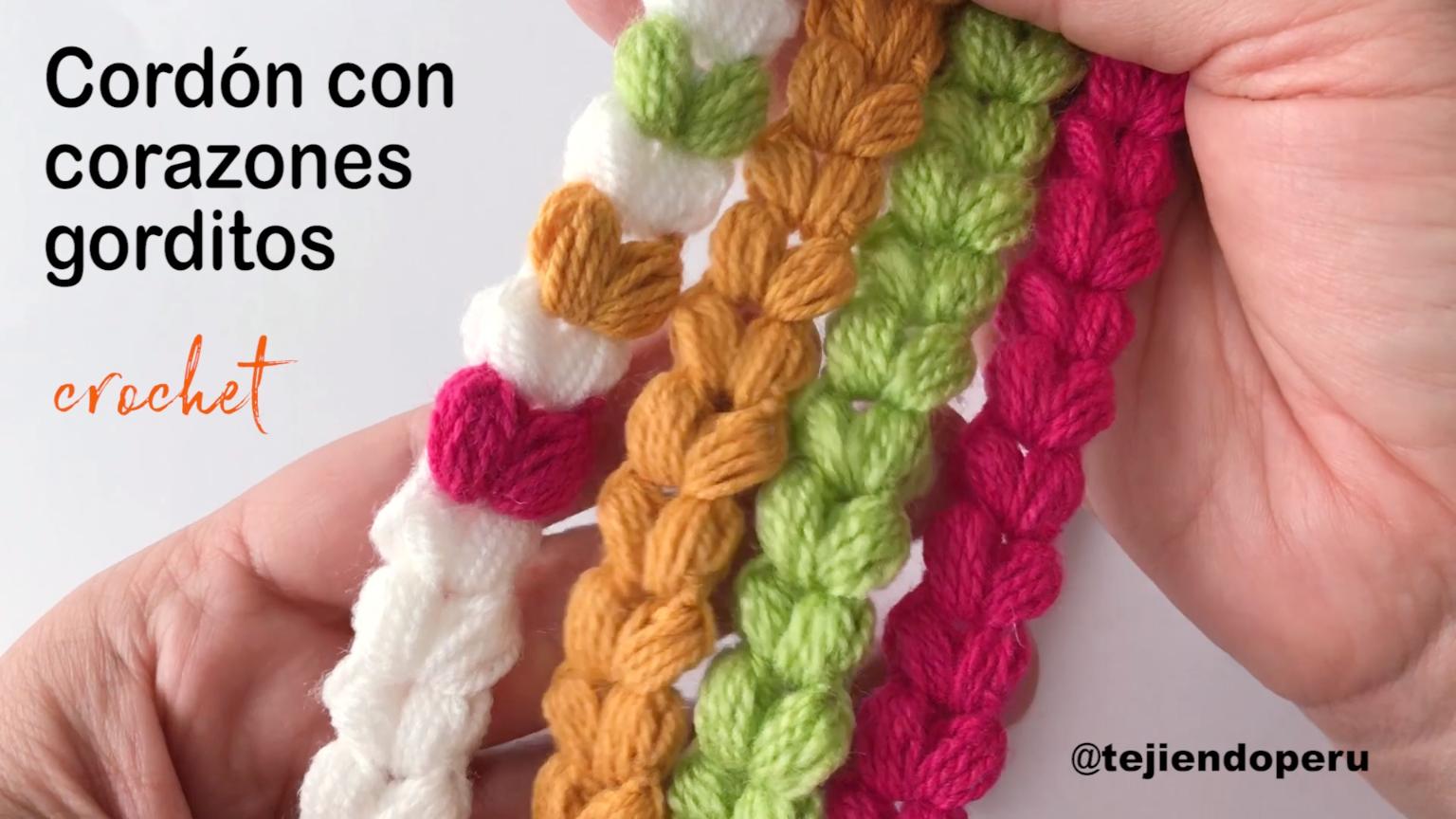 Cordón de corazones tejido a crochet  e81a82cc17e5