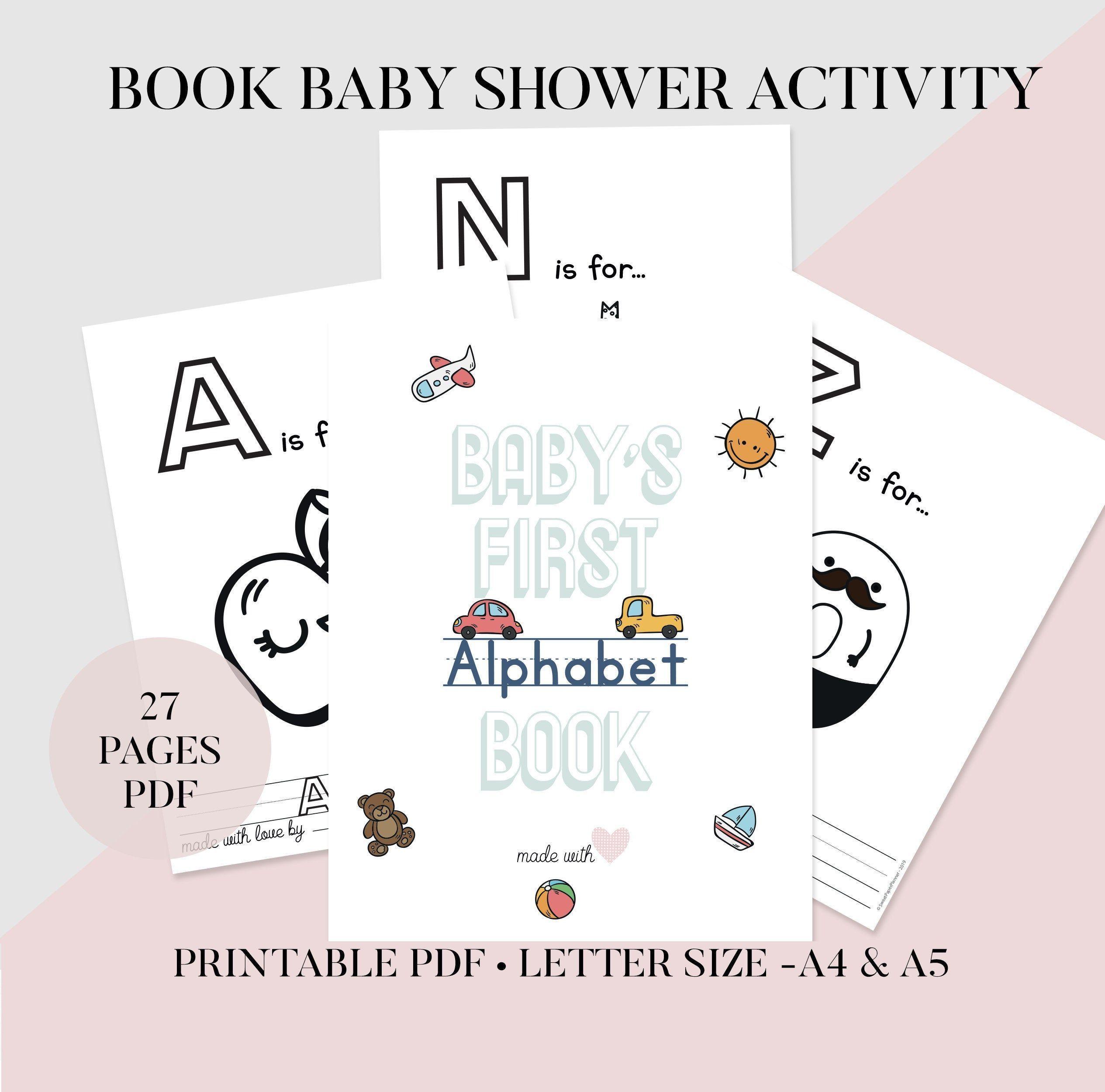 Buch Baby Shower Aktivitat Druckbare Abc Malbuch Alphabet Baby Shower Gam Baby Showering