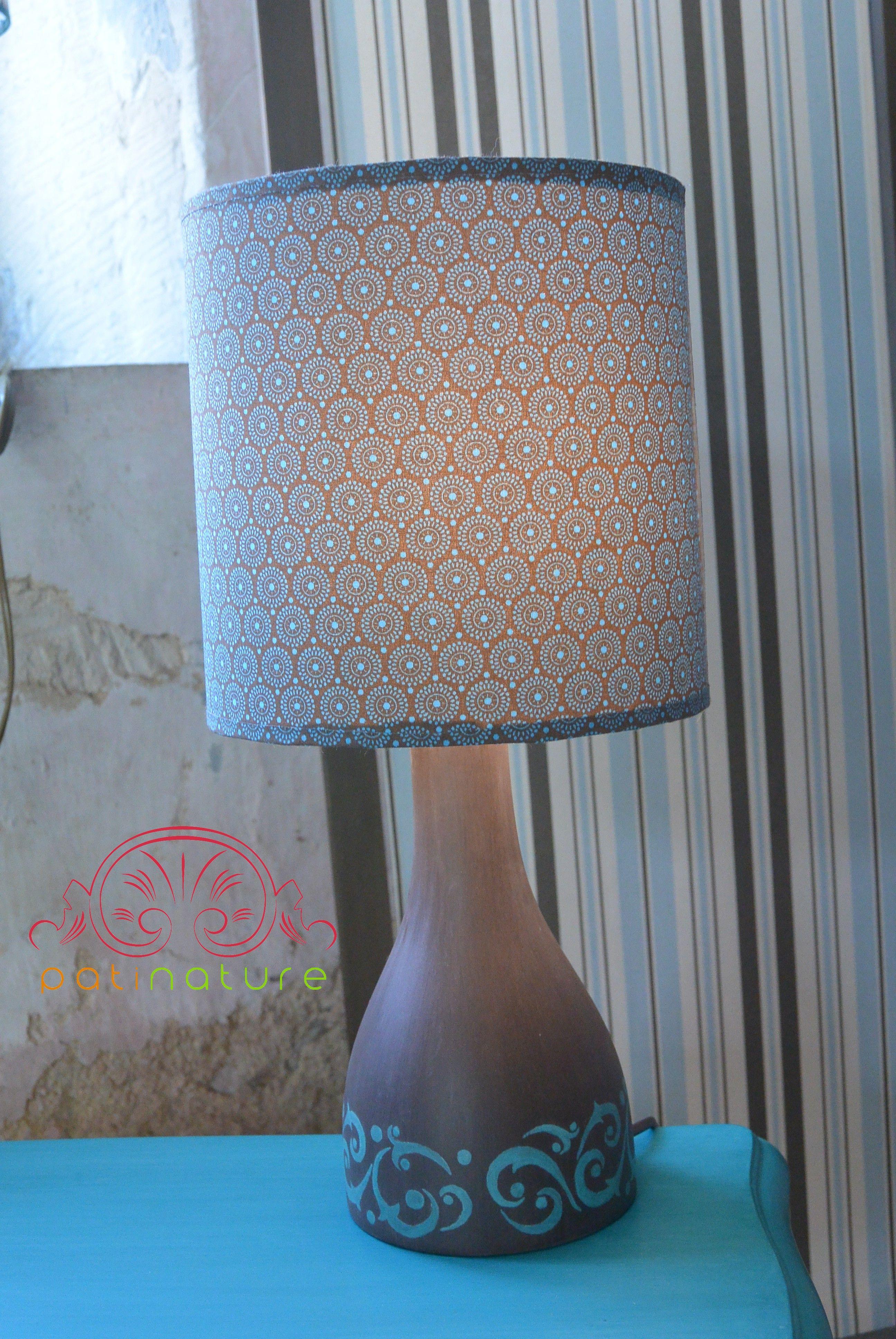Lampe Arabesques Turquoise Pied Peint A La Caseine Abat Jour Fait