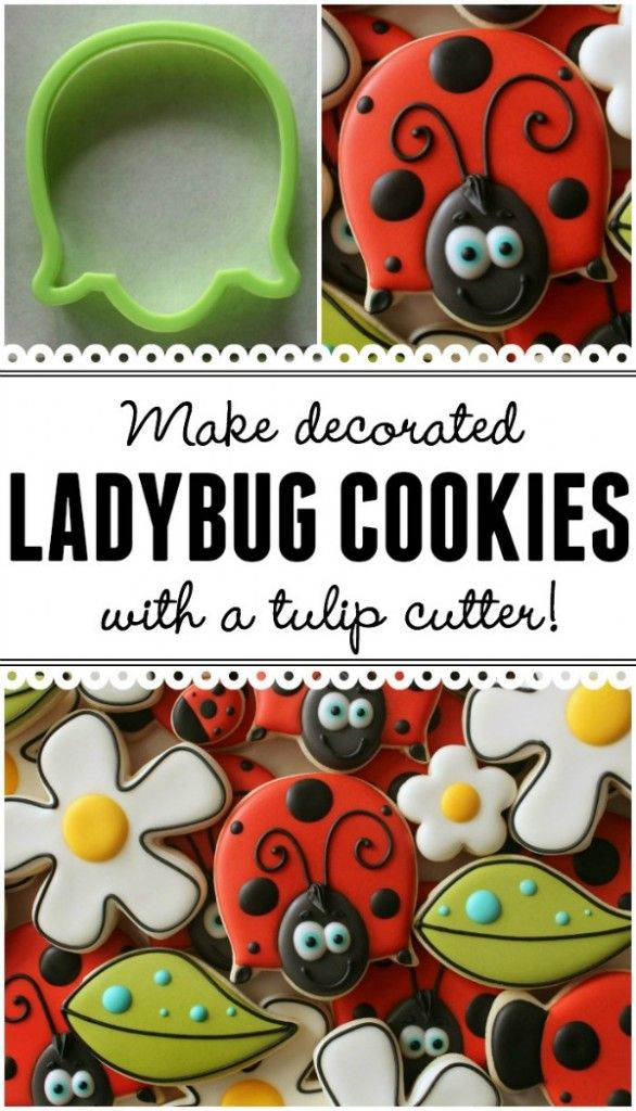 Make adorable decorated ladybug cookies with a tulip ...