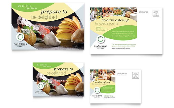 Food Catering Postcard Template Design By Stocklayouts  Zadees