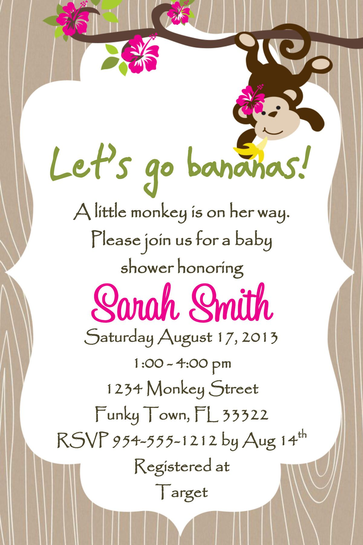 Monkey Baby Shower Invitation Template Girl Or Boy Lucky Bean