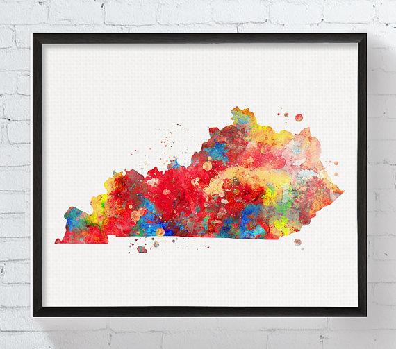 Kentucky State, Kentucky Watercolor Map, Kentucky Print, Kentucky ...