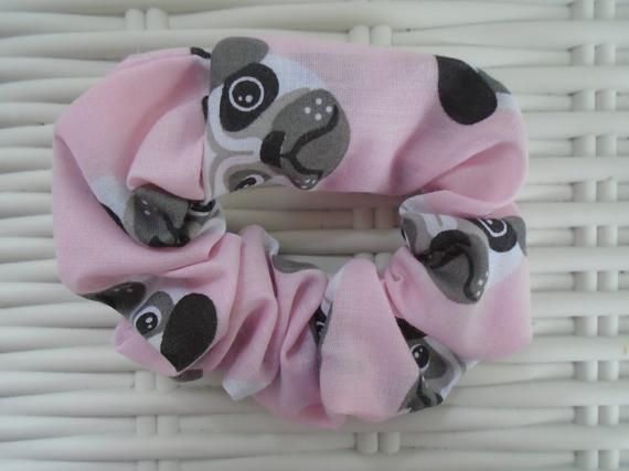 Pack of 3 Fabric Pug Hair Scrunchies - Blue, Pink & Red #hairscrunchie