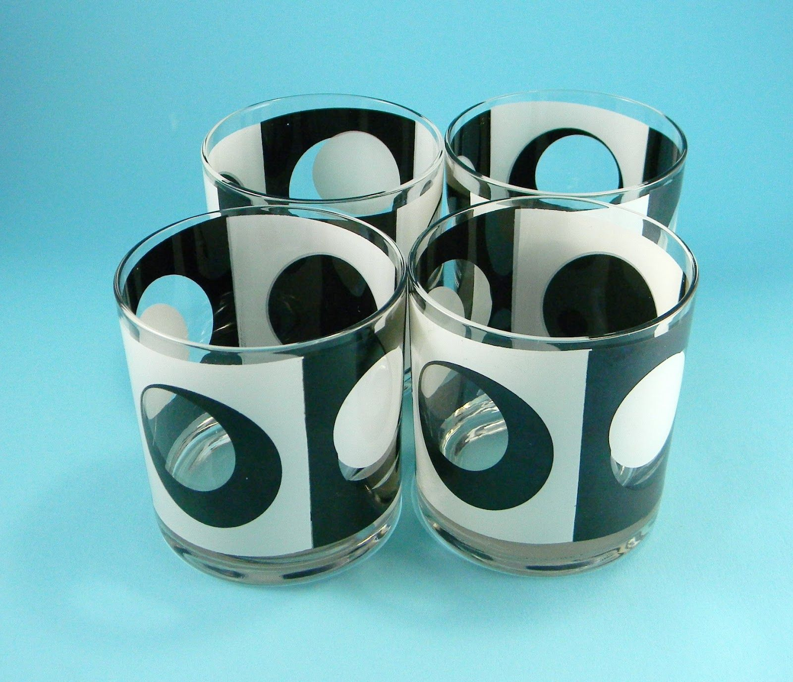 Georges Briard Black U0026 White Rocks Glasses. 1960s Barware Mid Century  Beauties. Mad Men