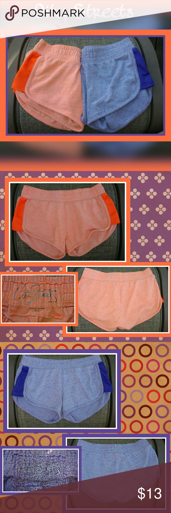 Bundle: 2 pair XS running shorts Cute short shorts! Elastic waistband; contrastings colored breathable panels on each side. Cotton/polyester blend City Streets Shorts