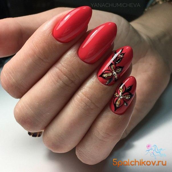 Красные ногти с черными цветами - фото стильного дизайна ...