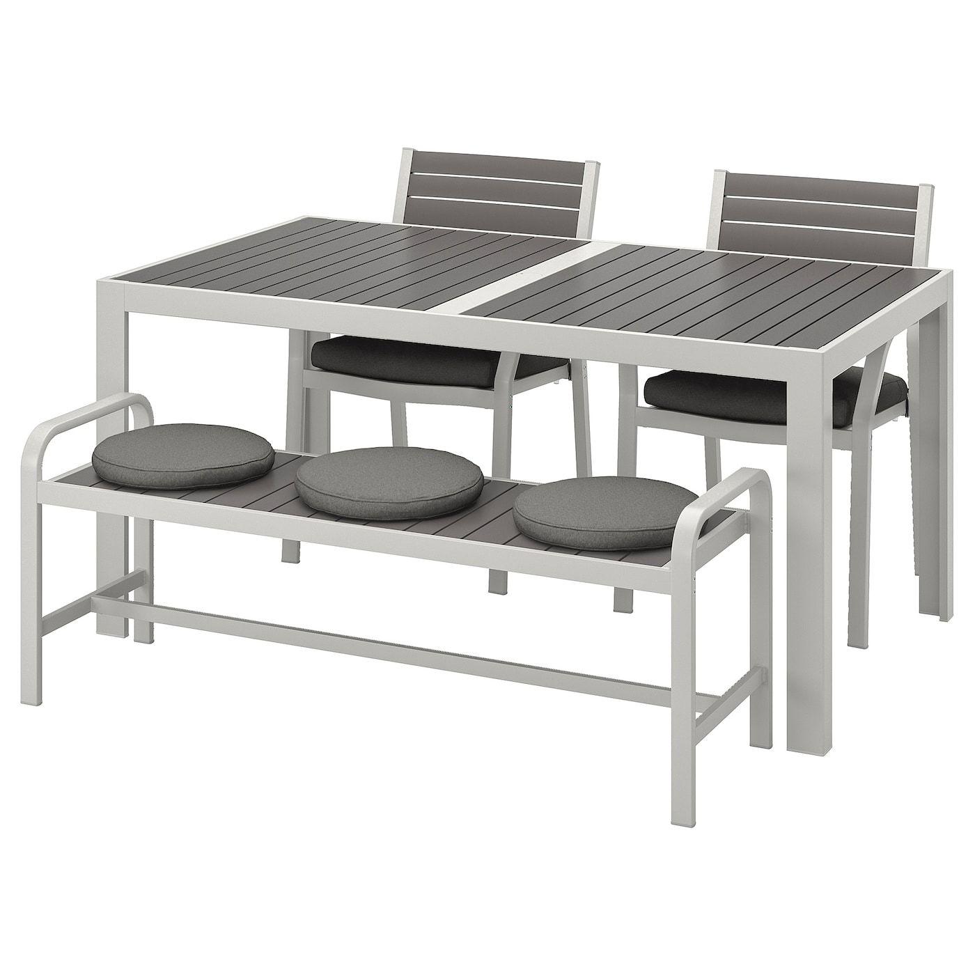 Sjalland Tisch 2 Stuhle Bank Aussen Dunkelgrau Froson Duvholmen