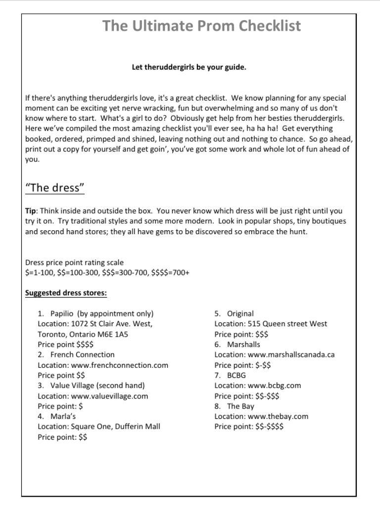 THE ULTIMATE PROM CHECKLIST Prom checklist, Checklist, Prom