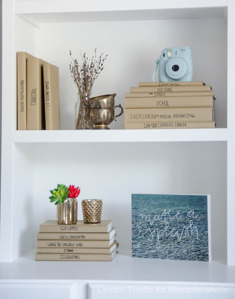 Remodelaholic | Afternoon Bookshelf Refresh with DIY Paper Book Covers