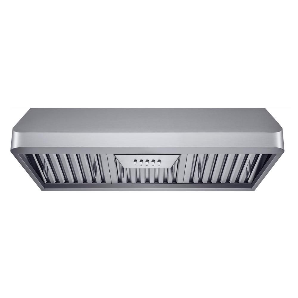 Winflo 30 In 300 Cfm Under Cabinet Range Hood In Stainless Steel With Baffle Filters Led Lights And Push Range Hood Under Cabinet Range Hoods Stainless Steel