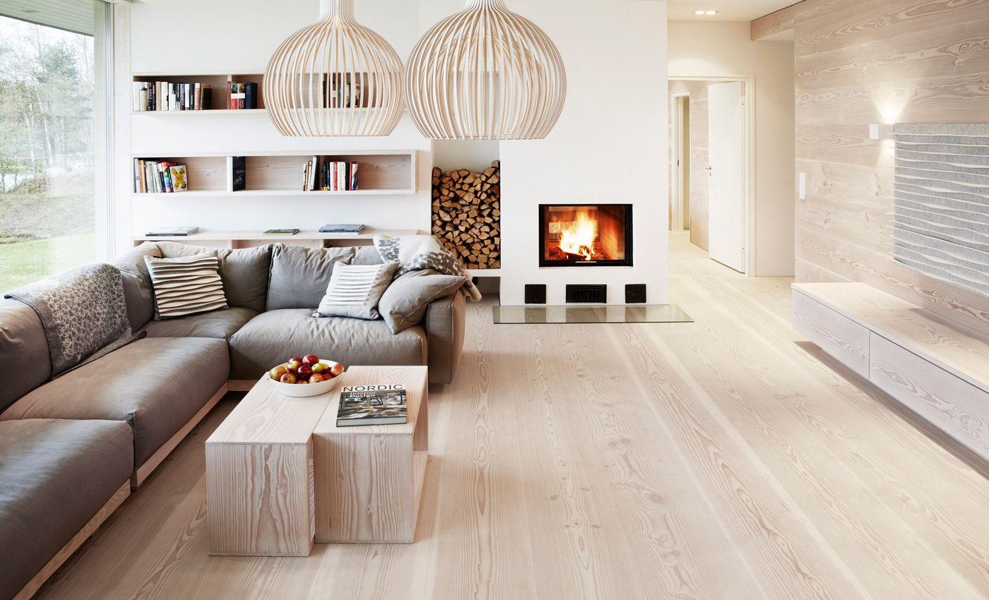 Wohnzimmer Hell ~ Douglasie dielenboden in schönem wohnzimmer wohnen