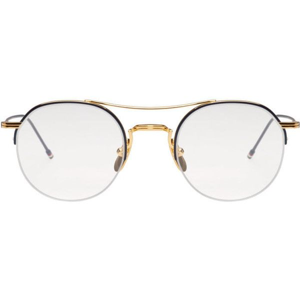 3ba32223217 Thom Browne Gold Semi-Rimless Optical Glasses ( 645) ❤ liked on Polyvore  featuring men s fashion