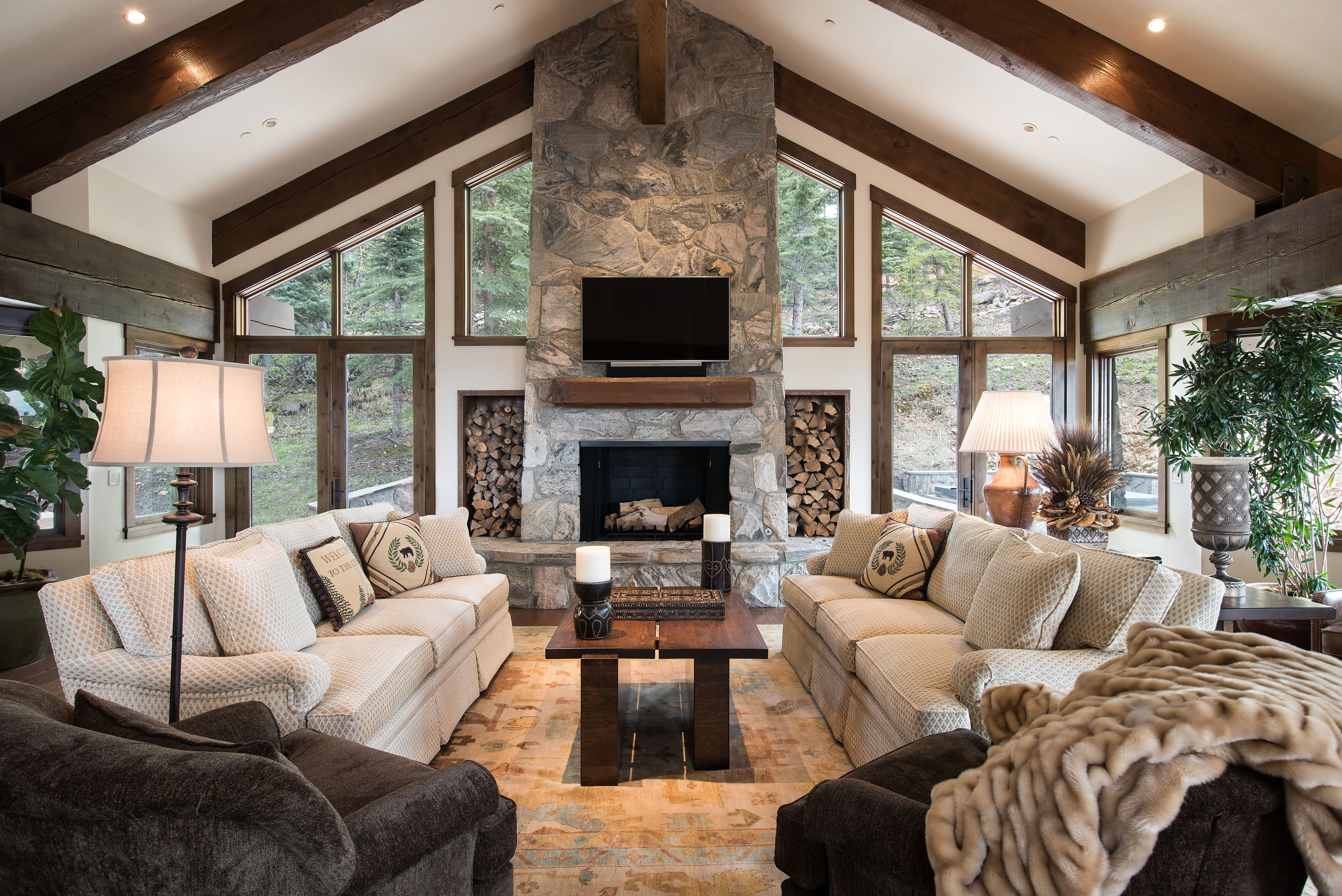 Lots Of Windows Fireplace And Beams Living Room Decor Traditional Farm House Living Room Dream Living Rooms Living rooms with lots of windows
