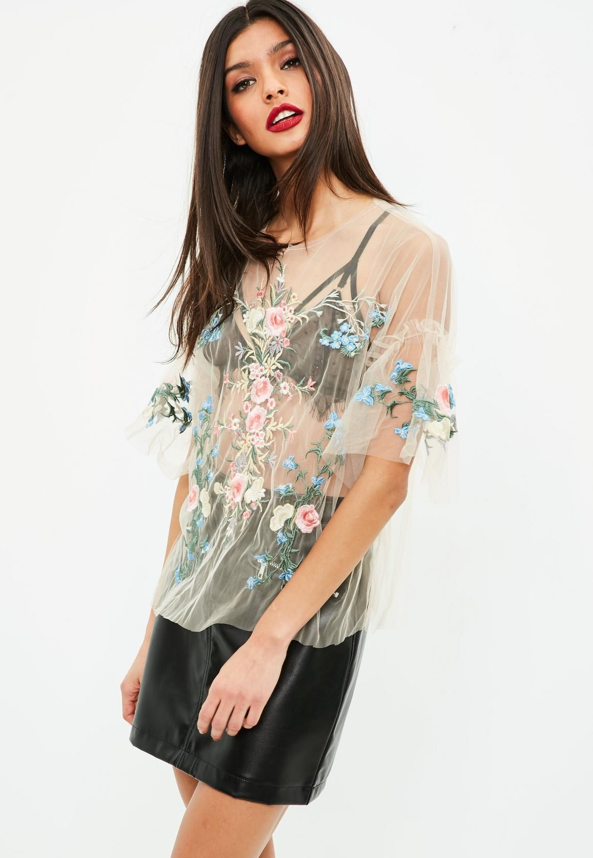 bd99df814f37a Missguided - Nude Sheer Embroidered Top | See through | Tops ...