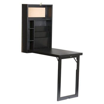 Wall Mounted Folding Desk With Built In File Folders