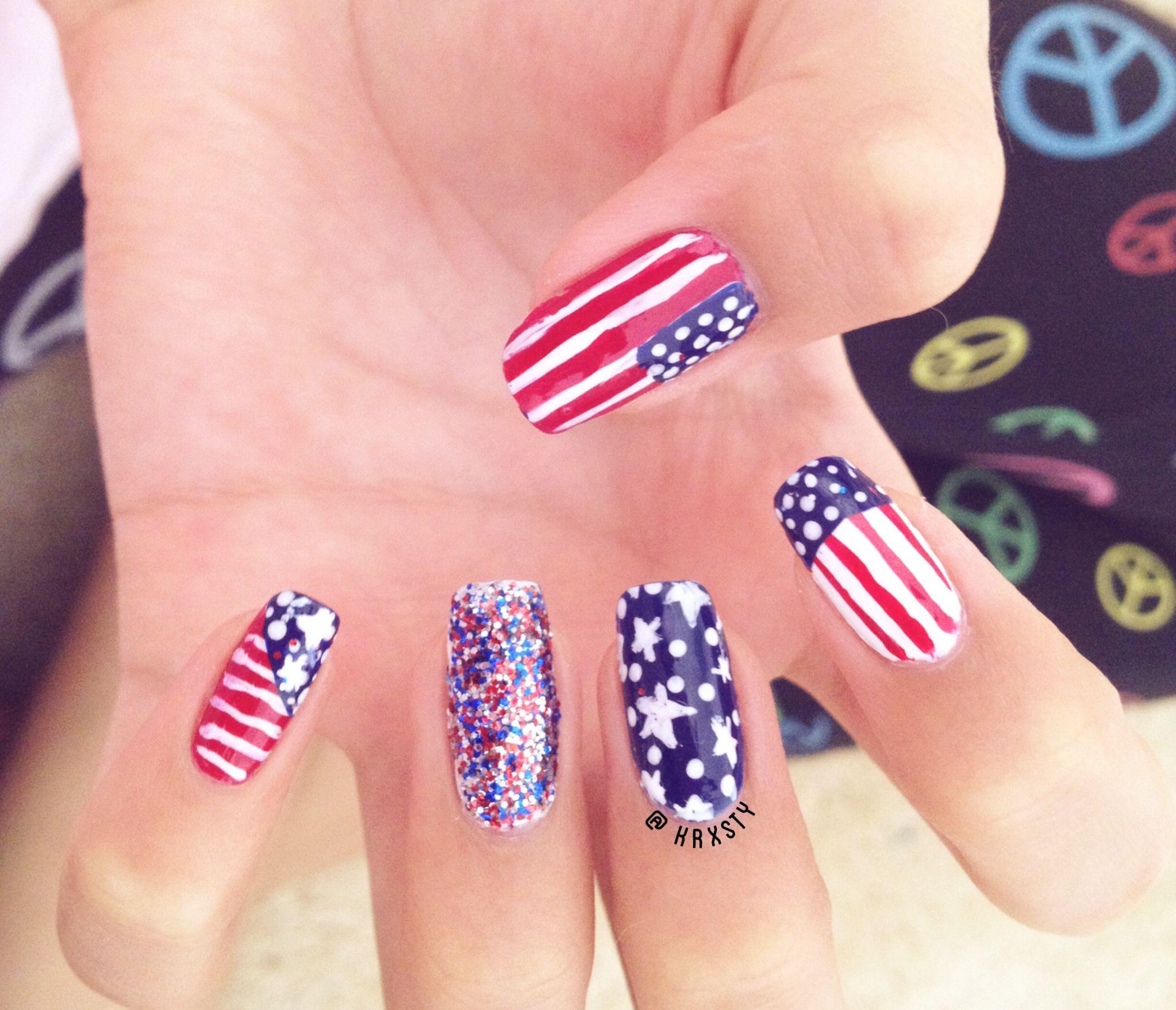 My Fourth of July nails  | @krxsty