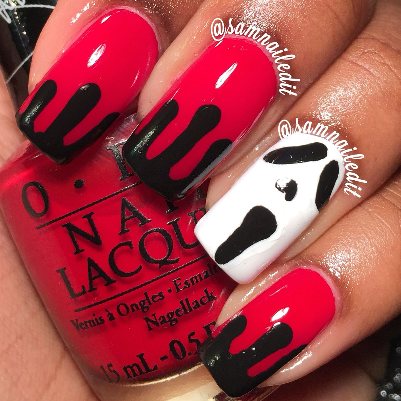 Super easy Scream inspired nails for Halloween ...
