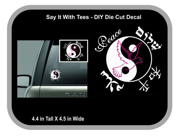 Balanced Peace Die Cut Car Wall Window Cups Mugs by SayItWithTees