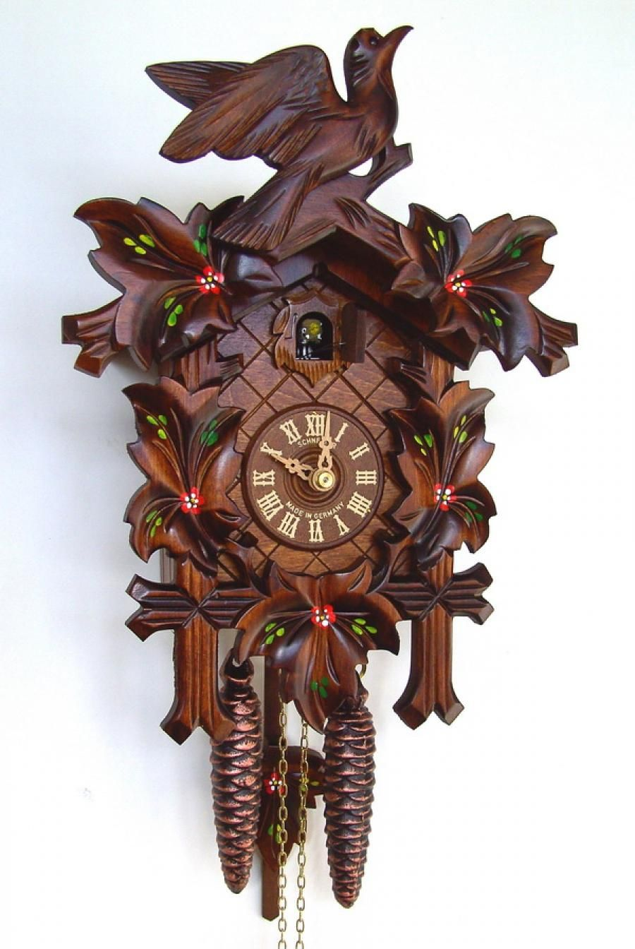 17in Birds Leaves 1 Day Traditional German Black Forest Clock By Schneider Nsc3665 Cuckoo Clock Clock Forest Clock