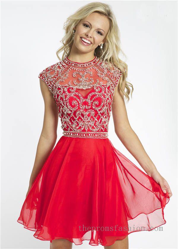 Beaded Cap Sleeve Short Red Prom Dress OVNI21475   formal dresses ...