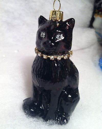 details about poland glass black cat w rhinetone collar christmas or halloween tree ornament - Black Cat Christmas Ornament