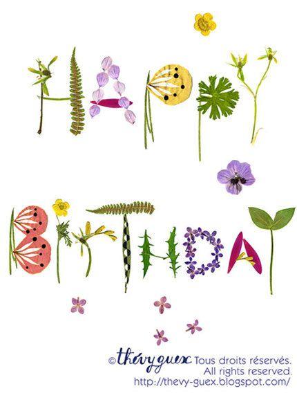 Happy Birthday Wishes Nature ~ Happy birthday herbarium botanical flower nature art card pressed anniversary typography