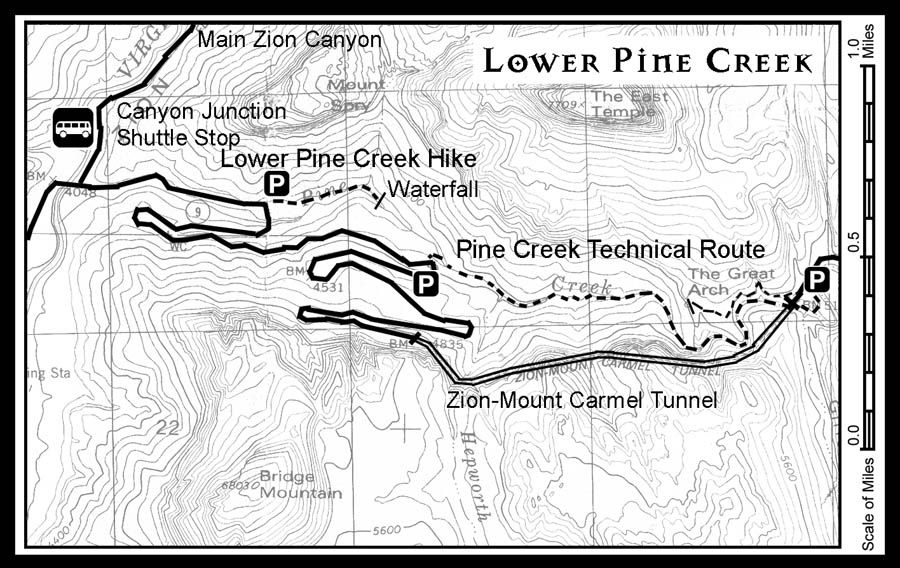 Map of where Lower Pine Creek is in Zion National Park