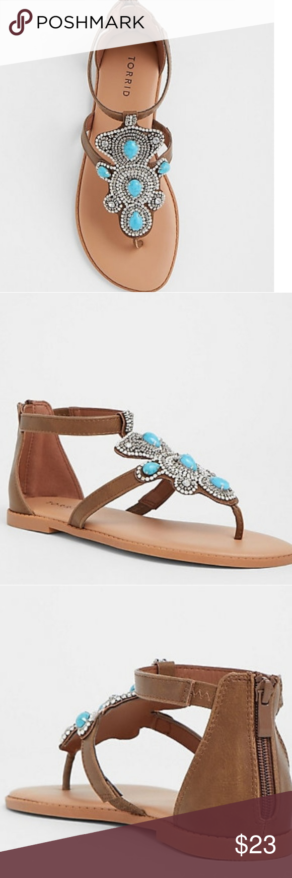 41d65947a53681 WIDE WIDTH BROWN TURQUOISE STONE SANDAL 💞 Turquoise Stones And Rhinestones  Accent A Brown T-