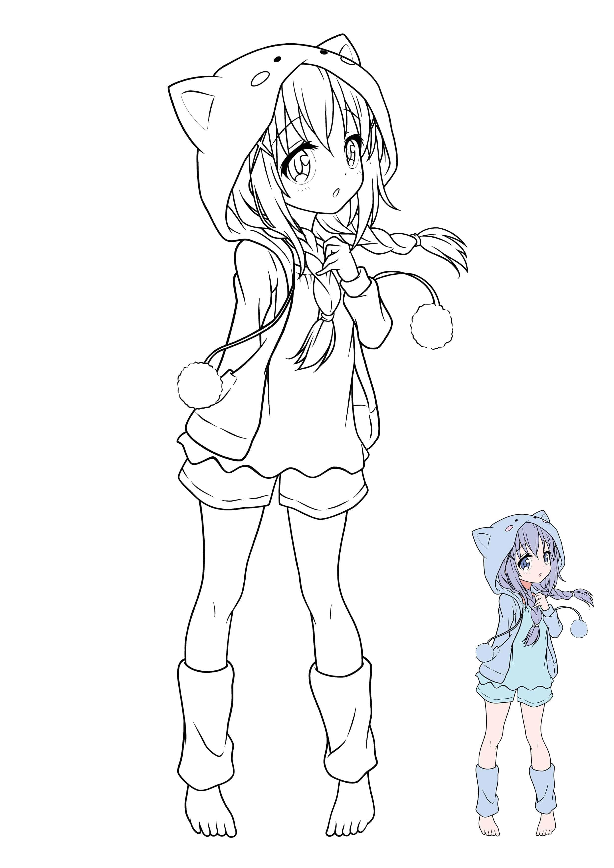 Kawaii Manga Girl coloring sheet  Manga coloring book, Chibi
