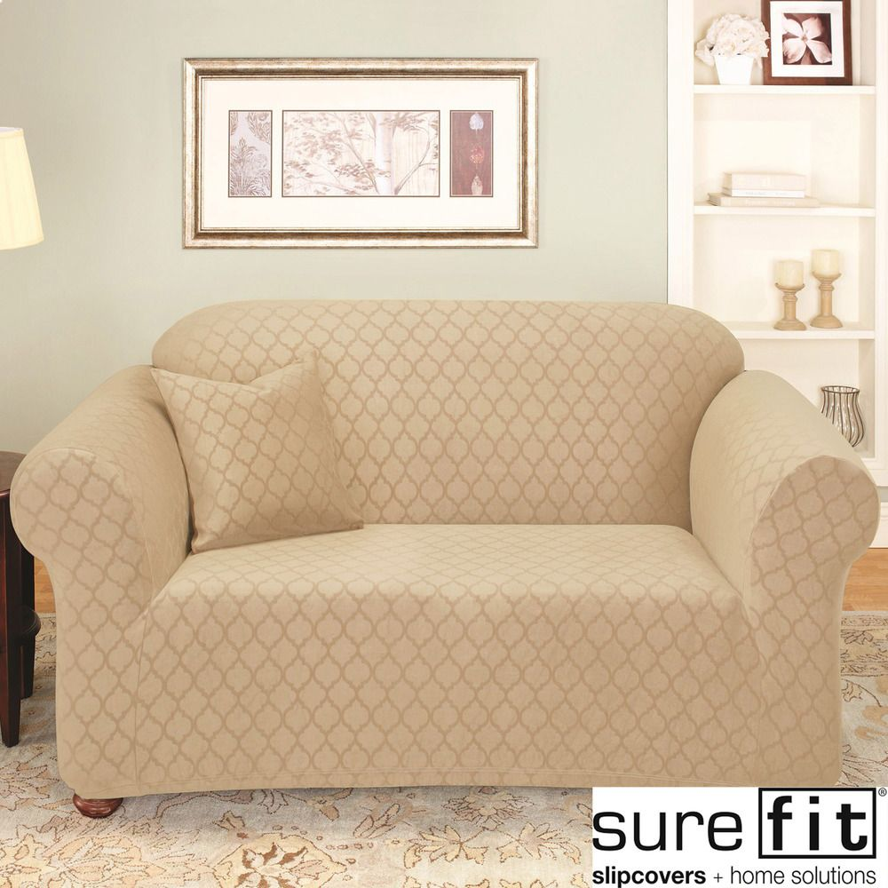 loveseat amazon sure fit com kitchen lattice slipcovers piece tan home slipcover dp