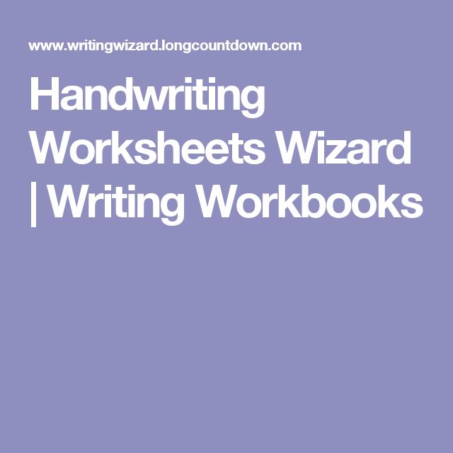Handwriting Worksheets Wizard   Writing Workbooks ...