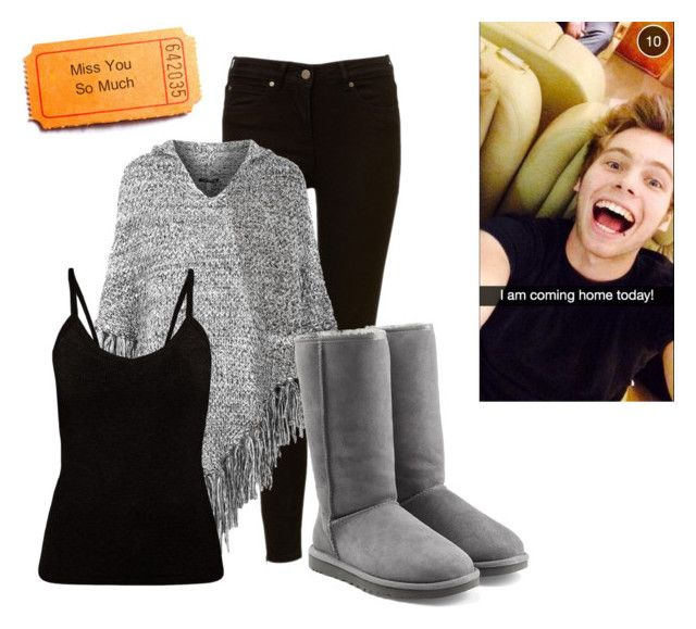 """""""He comes home from tour.."""" by lovescalumhood ❤ liked on Polyvore featuring Topshop and UGG Australia"""