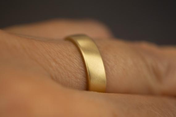 Mens wedding band gold 14k - Brushed gold wedding band men - Flat yellow gold wedding ring - 5mm mens gold ring band matte - Gold matte ring