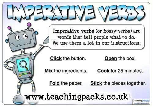 English Imperative Verbs Teaching Pinterest English