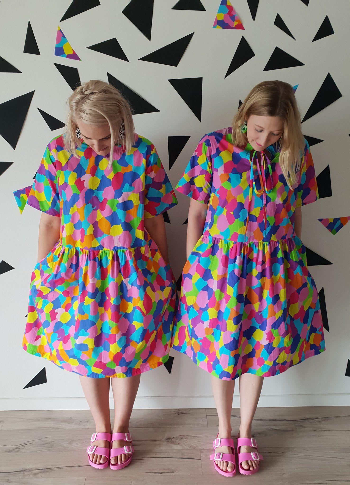Rainbow Splash Smock Dress Meg Makes Studio Colourful Outfits Fabulous Dresses Lover Dress