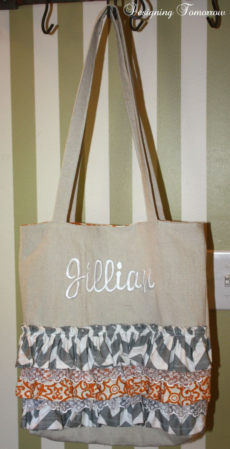 Monogrammed Ruffle and Lace Tote Bag - Orange and Gray. $50.00, via Etsy.