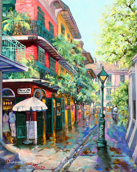 33d38ed07b0 New Orleans Art French Quarter New Orleans by DianneParksArt. Pirates Alley  ...