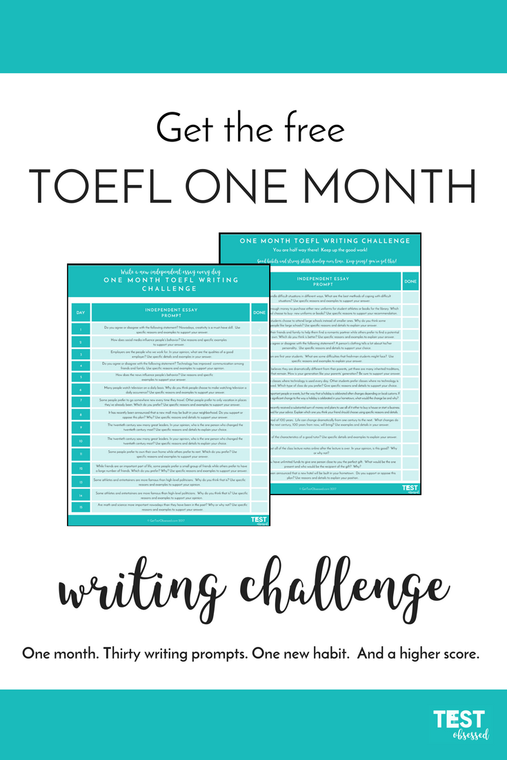 One month\'s worth of TOEFL writing prompts in an easy to track ...
