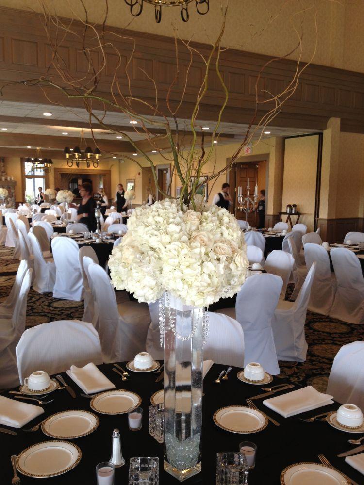 Tall square vase centerpiece white hydrangea champagne