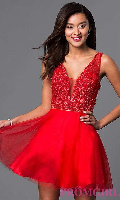 Short Red V Neck Semi Formal Dress With Beads Prom 2017